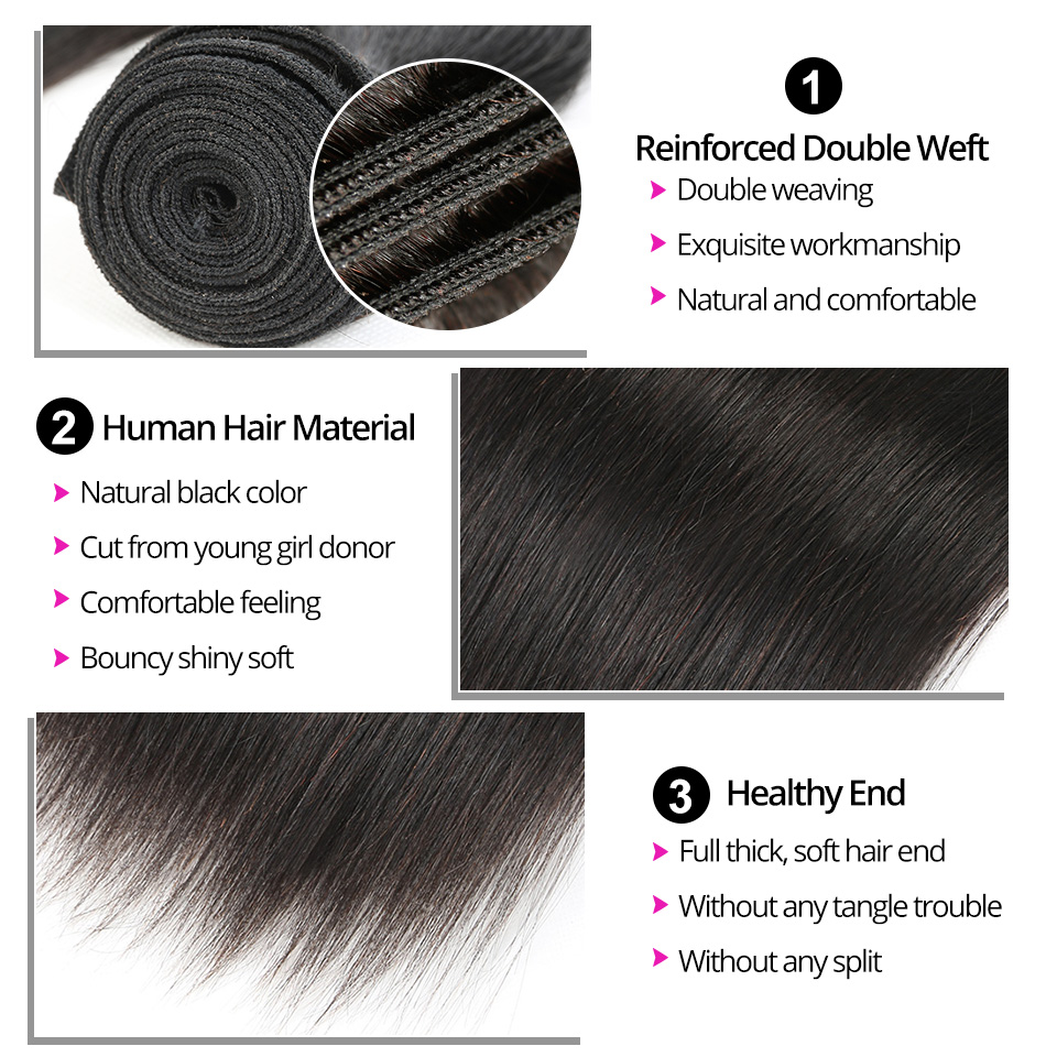 Peruvian Hair Bundles Straight Human Hair Bundles Lila Desire Remy - Mänskligt hår (svart) - Foto 5
