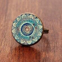 Vintage budismo Chakra Henna cúpula de cristal cabujón anillo Om Yoga Mandala anillos para mujeres joyas étnicas indias