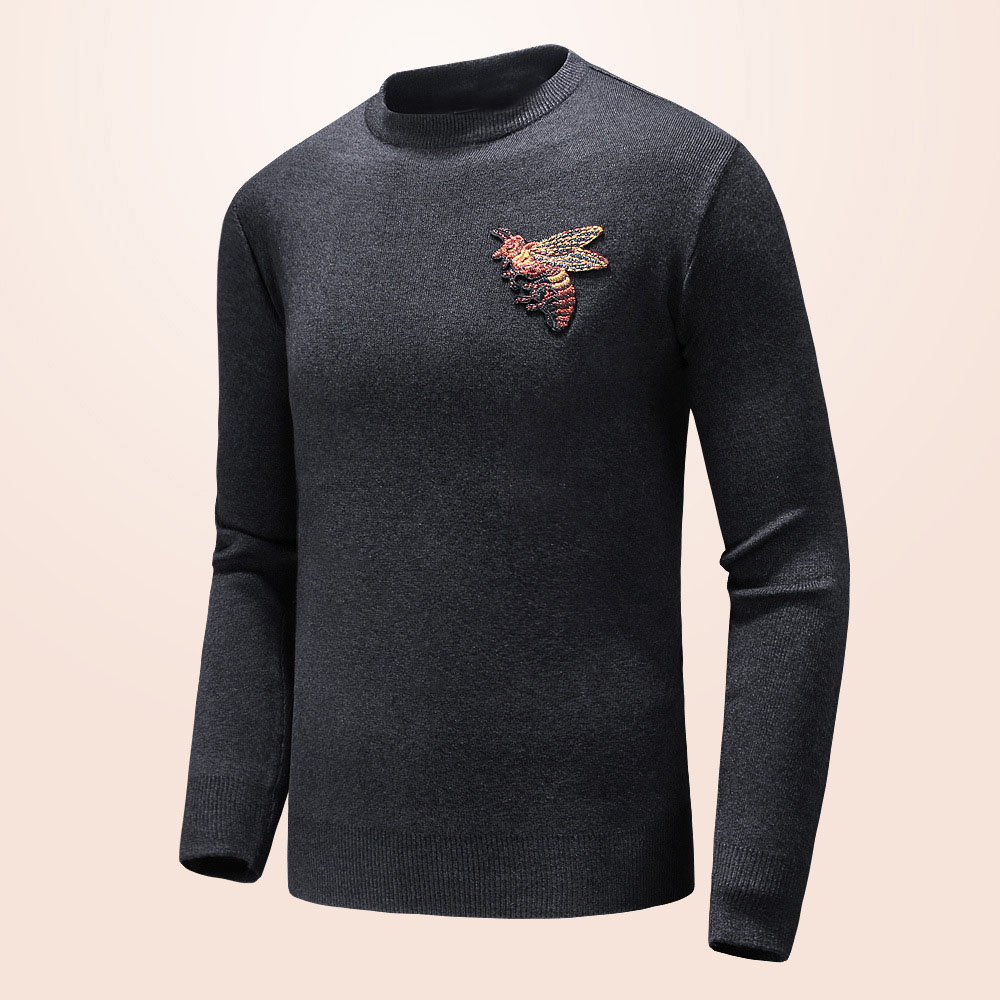 New 2018 Man Luxury Winter Bees Embroidered Casual Sweaters Pullover Asian Plug Size High Quality Drake #H74