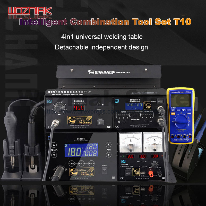 MECHANIC 4in1 Multifunction Soldering Stations +Air Gun + Power Supply For Smartphone Repair Power Combination Package T10