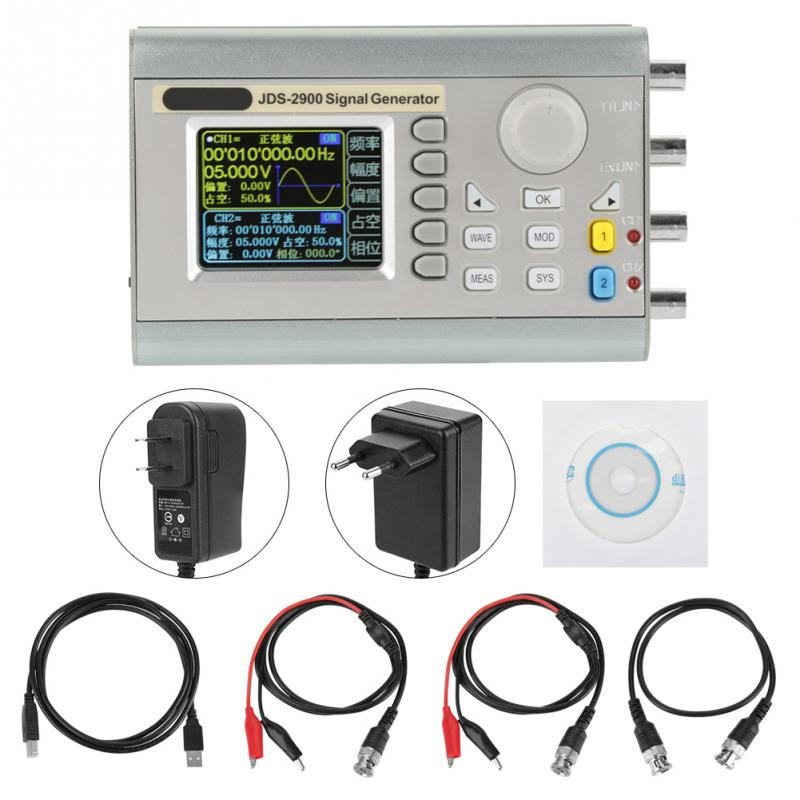 1 Set Dual-channel AC100-240V Signal Source JDS2900 DDS function Signal Generator Counter Digital Control Sine Frequency New jds2900 dds signal generator counter digital control sine frequency dual channel 50 mhz signal source 40