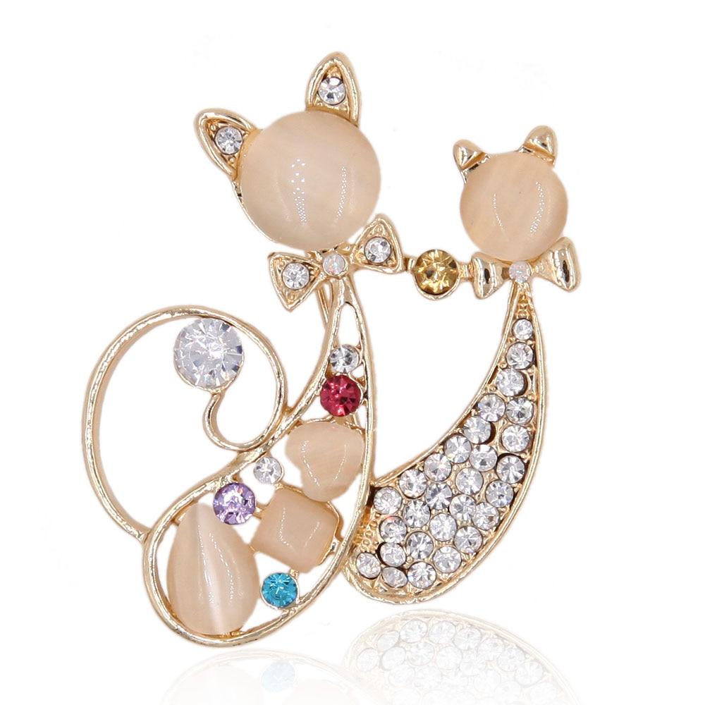 Double Cats Brooch Crystal Rhinestone Pin Opal Animal Garment Fashion Jewelry Accessory 2016