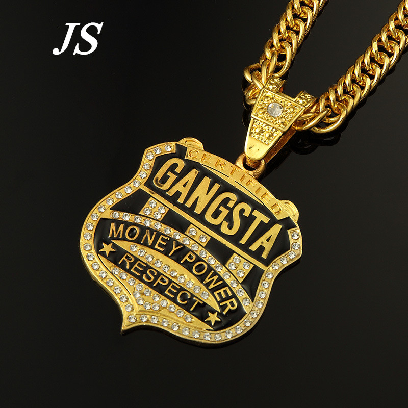 925 STERLING SILVER MONEY POWER RESPECT HIP HOP CZ PENDANT WITH ROPE CHAIN