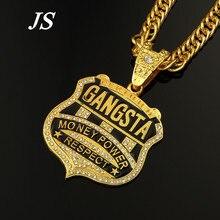 Js oro fresco Rapper cadena de oro para hombre collar Colares Masculino Ouro Hiphop largo oro Neckless HN002