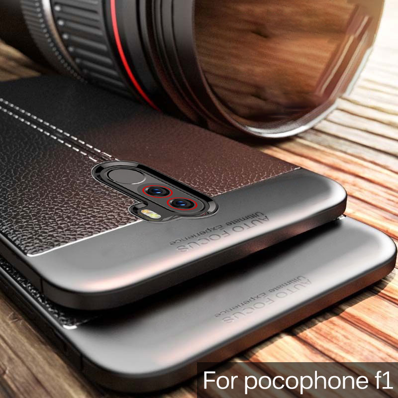 pocophone f1 Case for Xiaomi pocophone f1 Case Silicone Bumper Soft TPU Leather Texture Back Cover For poco f1 Case on poco f 1