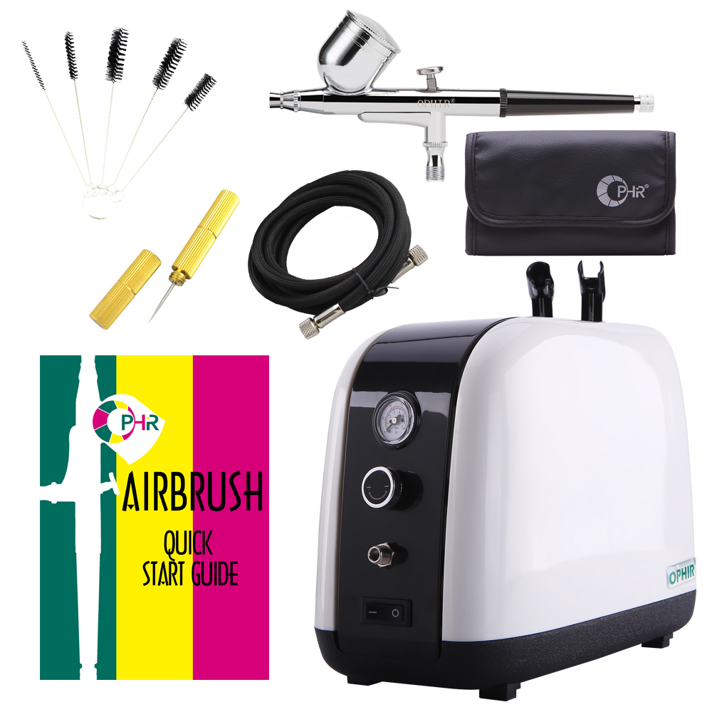 OPHIR Airbrush Kit with Air Compressor for Facial Care Skin Care Dual-Action Hobby Spray Air Brush Set with Cleaning Brush AC057 cleaning brush with spray