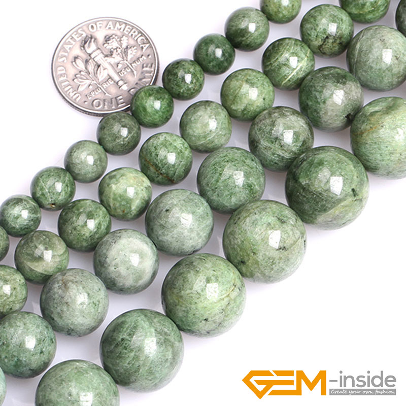 8mm 10mm 12mm 14mm Natural Green Diopside Stone Gem Stone Semi Precious Round Beads For Jewelry Making Strand 15 Inch