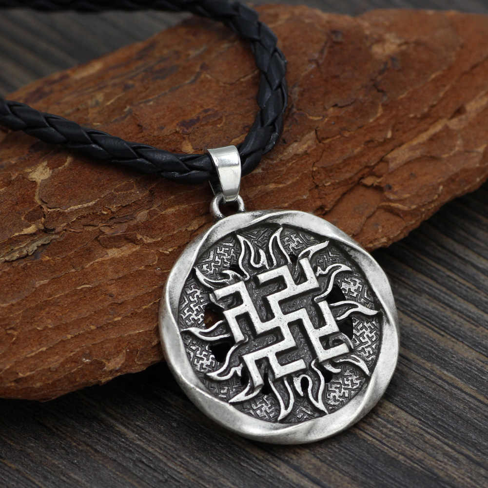 Men Occult Germanic Pagan Fern Flower Ancient Slavic Amulet Warrior Symbol  Talisman Pendant Necklace Jewelry