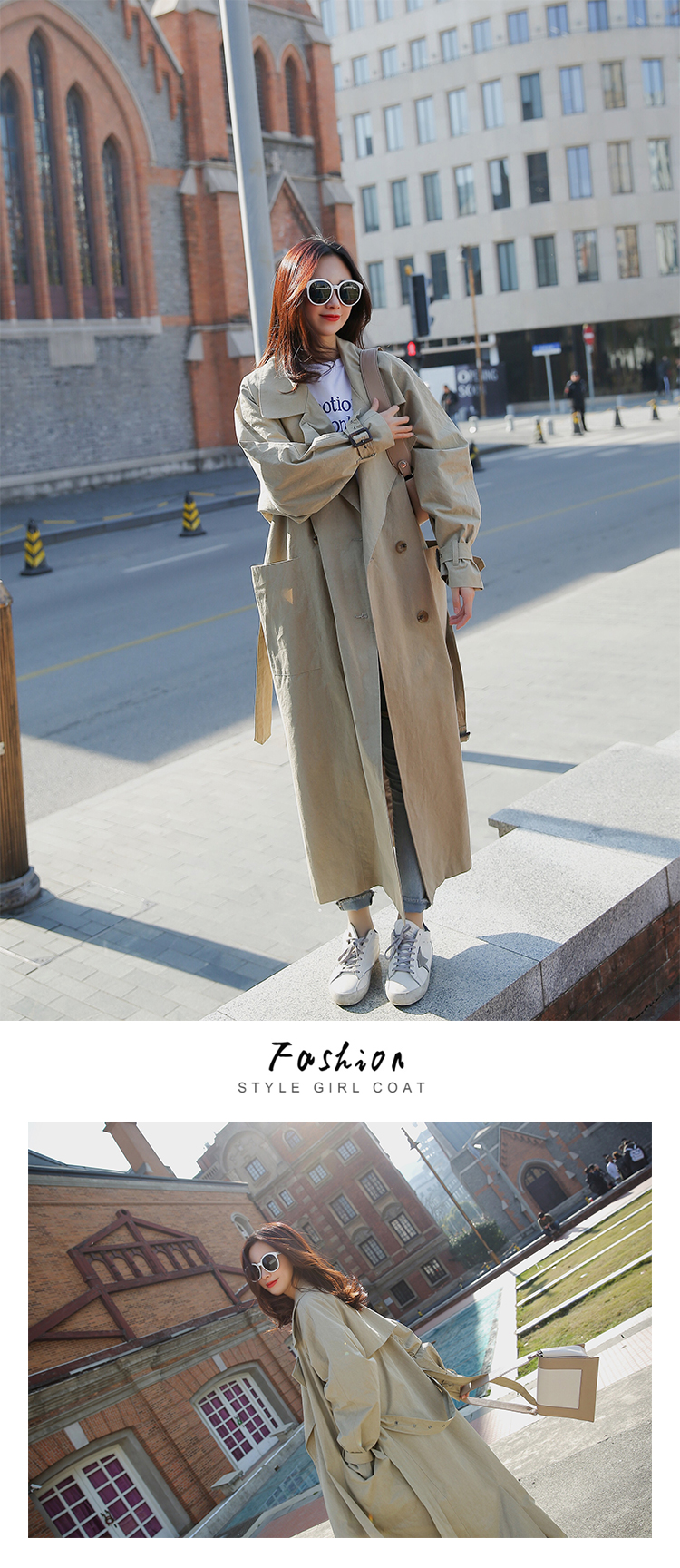 new arrival women fashion holiday comfortable loose trench coat professional OL temperament solid girls warm outdoor long trench 4