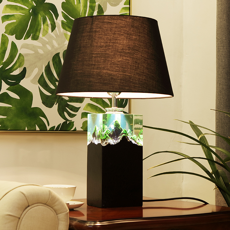 Modern Bed Room Resin Table Lamp Luxurious 3D Mountain Living Room Decor Abajur Led Table lamp For Bedroom Lamparas De Mesa modern carved pansy flower bedroom desk lamp fashion luminaria de mesa home decor table light e27 led table lamp for living room