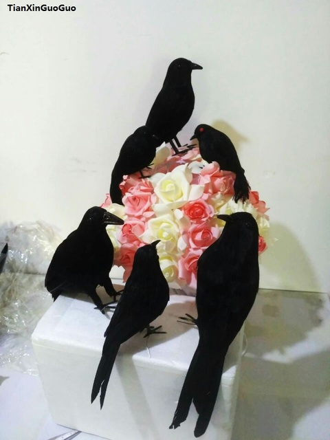 about 14cm simulation crow bird hard model foam&black feathers crow bird Halloween decoration prop, party ornament s1285