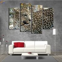 4 Pcs Home Decor Leopard Oil Painting On Canvas Wall Art Gift HD Print Waterproof Canvas