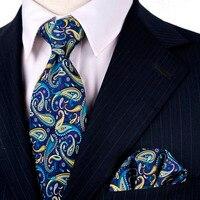 Многоцветный Темно-синие малиновый желтый Azure Пейсли мужские шеи Галстуки платок Галстуки набор 100% шелк с принтами Бесплатная доставка Фир...