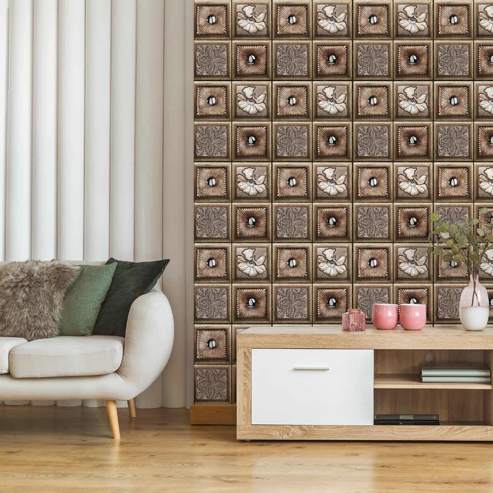 10 Uds. Patrón clásico europeo 3D Adhesivo de pared DIY azulejo removible autoadhesivo impermeable cocina baño decoración del hogar