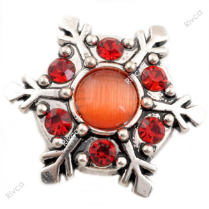 D00968 Christmas rivca stass metal jewelry snap button for bracelet snow