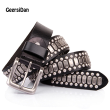 GEERSIDAN NEW 100% Genuine Leather Metal pin buckle men Belt Male Wide Cowhide Hiphop Rock Rivet belts for Men Ceinture Black double star dsr266 295 80r22 5 154 152m 18pr tl