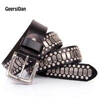 GEERSIDAN NEW 100 Genuine Leather Metal Pin Buckle Men Belt Male Wide Cowhide Hiphop Rock Rivet