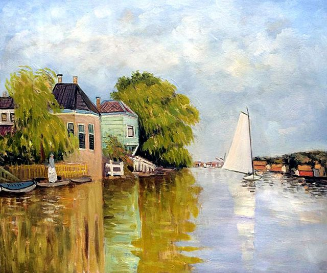 Houses on the Achterzaan Claude Monet Painting Handmade Landscape Oil Painting Home Decor Canvas Art for Living Room Frameless