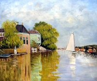 Houses On The Achterzaan Claude Monet Painting Handmade Landscape Painting Home Decor Canvas Art For Living