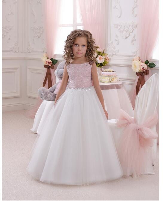 Girls Lace Formal Dress 2017 Sleeveless Flower Girls Dresses Kids Diamond Pearl Party Gauze Ball Gown Children's Wedding Dress girls formal dresses 2018 strapless flower girls dress off shoulder kids party gauze birthday ball gown children s wedding dress