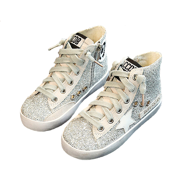 LIULIVERSON~Autumn Children's Sports Shoes Silver Glitter High Top Sneakers  for Baby Girls Trainer PU