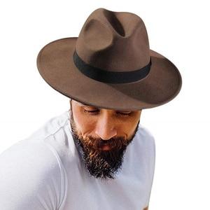 Image 2 - FURTALK النساء الرجال فيدورا قبعة 100% الاسترالي الصوف قبعة صغيرة فيدورا من اللباد واسعة حافة خمر الجاز قبعة فاتحة فام الخريف الشتاء قبعة