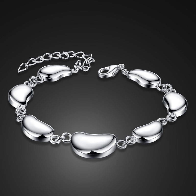 Fashion 925 Sterling silver bracelet Simple pea woman bracelet classic Solid silver bracelet charm lady silver jewelry gift