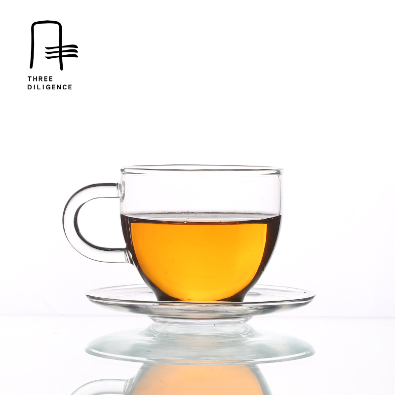110ml Round Borosilicate Shot Glass Mug Wine Heat Resistant Glass Vaso Coffee Mug Clear Tea set Cup and Saucer Puerh Whisky Beer
