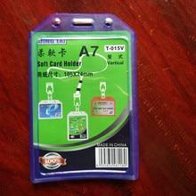 Дешевые 200 шт. 105 мм x 74 мм Вертикальная мягкая Имя кредитной карты Держатели PU банковская карта шейный ремень Card Bus ID Держатели идентичность работы