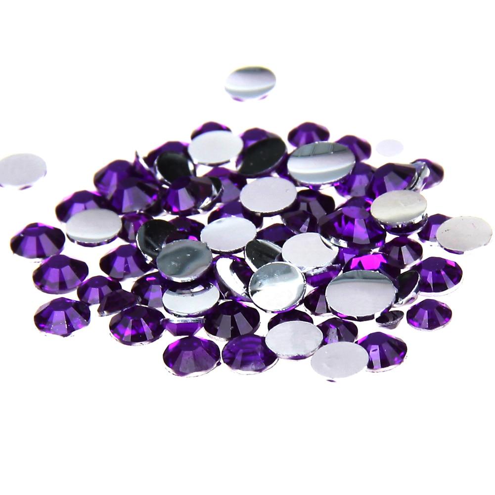Violet Color Non Hotfix Resin Rhinestones 1000-10000pcs 2-6mm Flatback Imitation Facets Chatons Use Glue DIY 3D Nails Art Phone цена