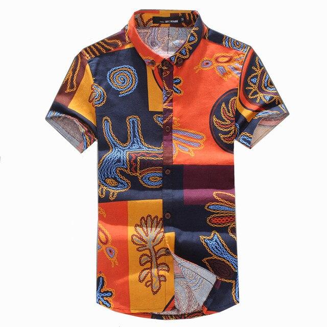 31726141 Men shirt 2018 summer short sleeve men's Linen shirts floral pattern print  shirt men casual camisa