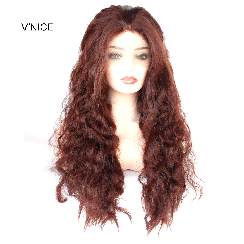 VNICE Rich Copper Red Synthetic Lace Front Wig Dark Auburn Long Loose Deep Wave Wig Heat