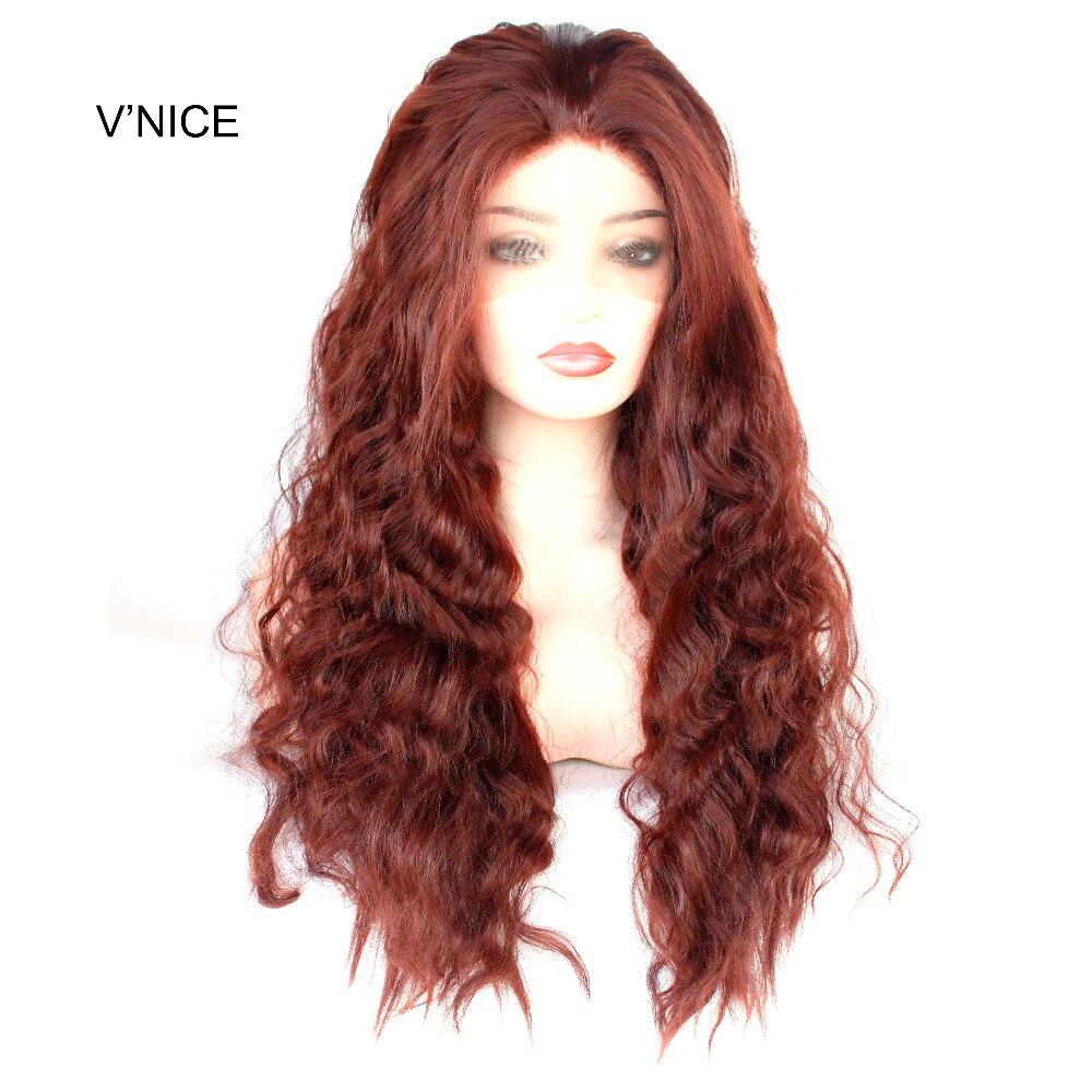 VNICE богатый Медь Красный синтетический Синтетические волосы на кружеве парик темно каштановые Длинные свободные глубокая волна парик жаро...