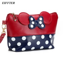 EIFFTER Women Makeup Bag 2016 New Fashion Professional Cartoon Cosmetic Bag Case Travel Storage Bag Bowknot Dot Makeup Case
