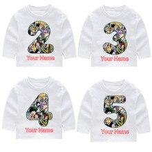 Childrens Boku No Hero Print Fashion Birthday Number Long Sleeve T-shirts Kids Fall Tops Baby Girl Harajuku Clothes