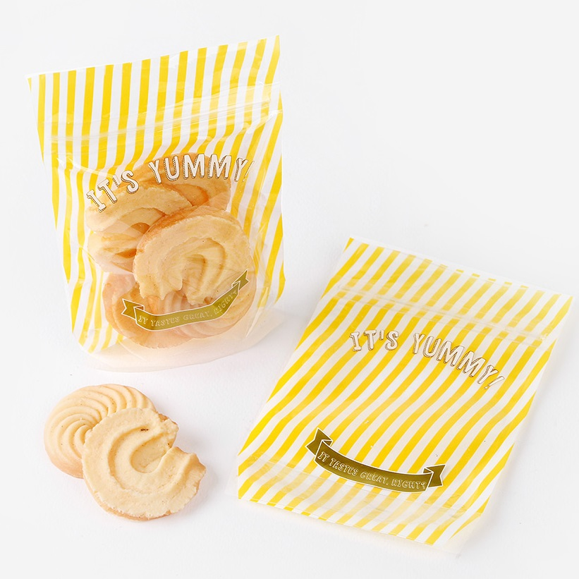 15*10.4*5cm 50pcs light yellow Striped design zipper bag Cookie Snacks Chocolate Gift party Decoration Packaging Bags