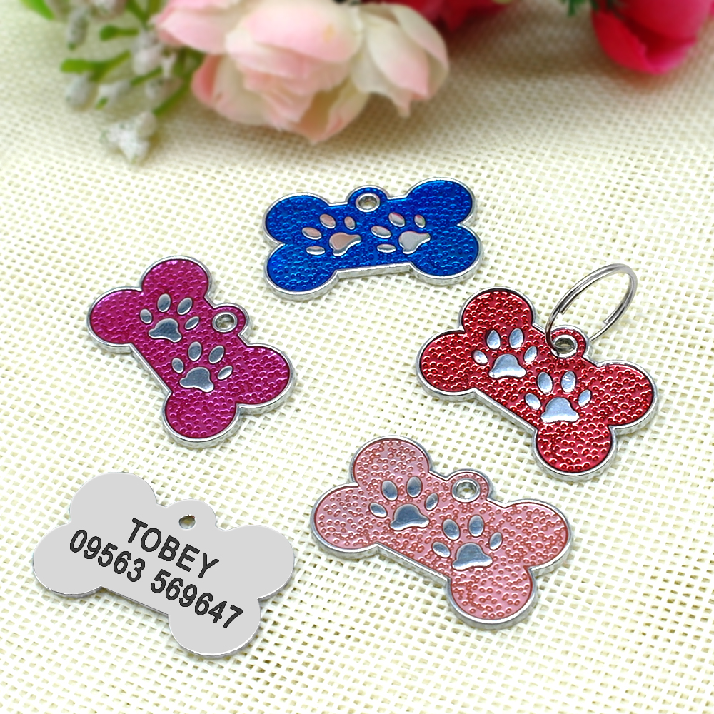 Personalized Dog Tags Engraved Cat Puppy Pet ID Name Collar Tag Pendant Pet Accessories Bone/Paw Glitter 30
