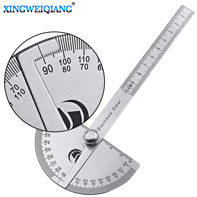 цены Digital Ruler Stainless Steel Round Head 180 degree Protractor Angle Finder Rotary Measuring Ruler Machinist Tool