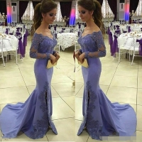 2019 Lilac Long Sleeve lace Evening Dress Off the Shoulder Applique Side Split Mermaid Satin Reception Guest Women Formal dress