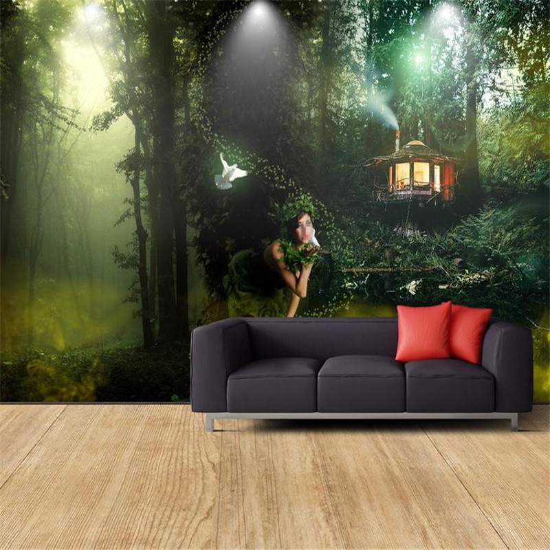 high quality 3d modern custom wallpaper nature landscape background wall mural large forest park photo wallpaper for living room custom green 3d large natural landscape living room tv background wallpaper mural fresh grass mountain animal sheep for walls