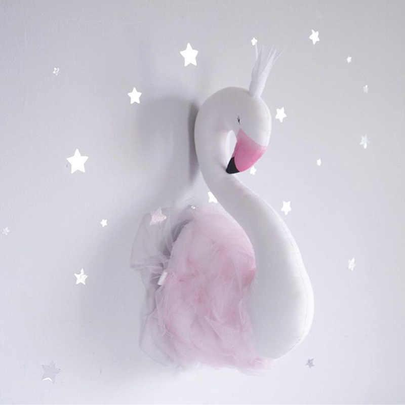 Новый дизайн Белый лебедь Настенный декор Фламинго кукла Лебедь мягкие игрушки, животные голова Настенный декор Детская комната дети
