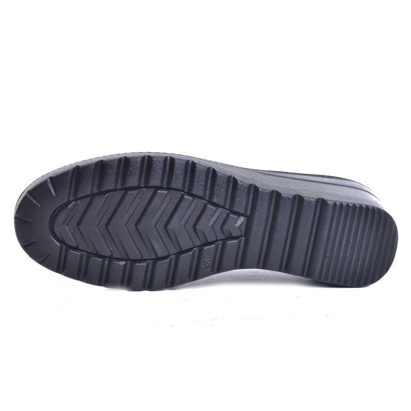YELKEN LU 2019 Yeni Sonbahar Yumuşak PU Deri platform ayakkabılar Kadın yarım çizmeler Kadın Zip Düşük Takozlar Ayakkabı Boyutu Artı 35- 41 XWD4112