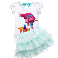 Baby Girl Clothes 2017 Summer Moana Vaiana Enfant Trolls Print Sets Children Girls Princess Dress T