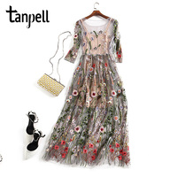 Tanpell Long Evening Dress Gray O Neck Embroidery Ankle Length Expansion Gown Cheap Women Sexy See