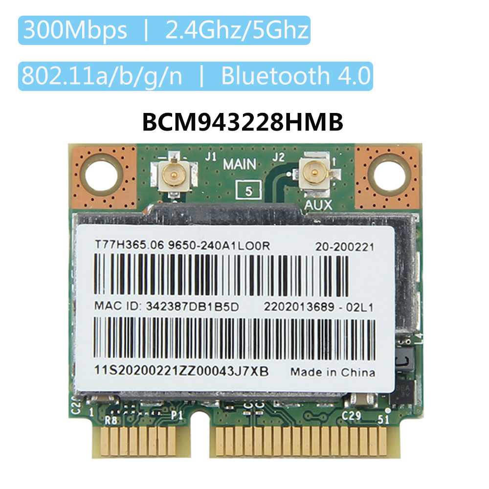 Dual Band Broadcom BCM943228HMB 802.11a/b/g/n 300 Mbps Wifi Scheda di rete Wireless Bluetooth 4.0 Mezza MINI pci-e Notebook Wlan 2.4 ghz 5 ghz