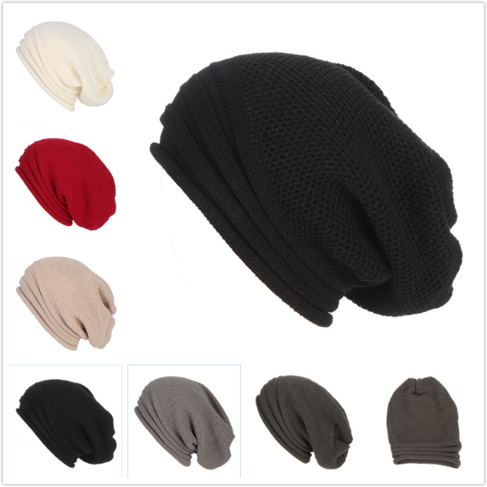 5ea5a7e1786 Men Women Baggy Warm Crochet Winter Wool Knit Ski Beanie Skull Slouchy Caps  Hat ...