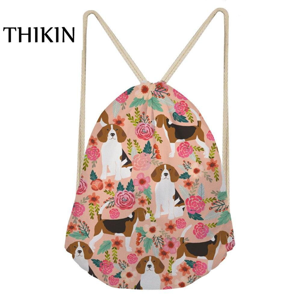 Thikin Women Sports Bag Cute Pet Dog Printing Draw-string Swimming Bags 2019 Causal Waterproof Dry Bag Teenager Backpacks