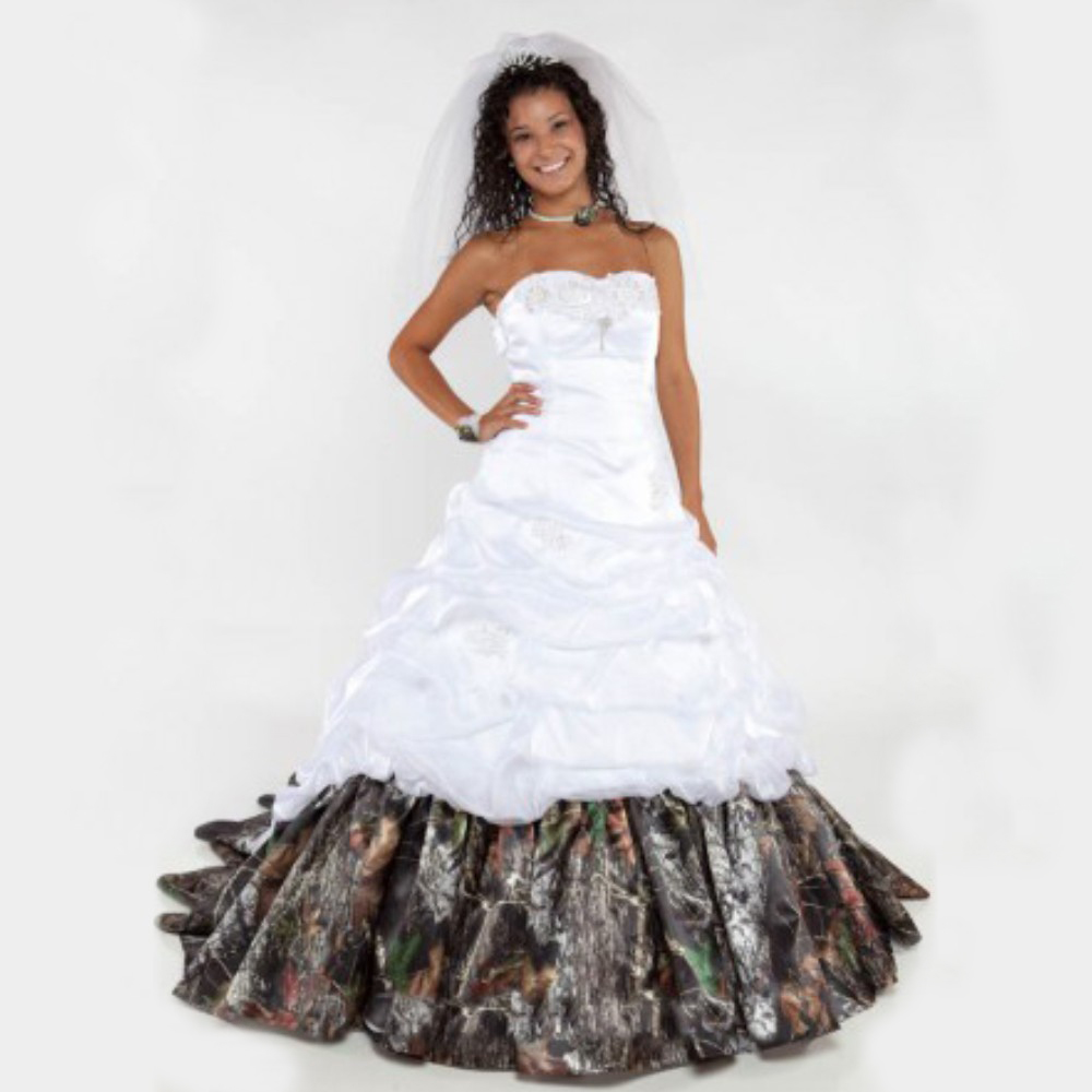 2016 White Camo Wedding Dresses Organza With Ruffles Bridal Dresses ...