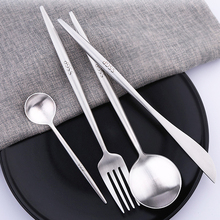SSGP 4Pcs/Set Portable Stainless Steel Dinnerware Set Cutlery Dinner Tableware for Kitchen Food