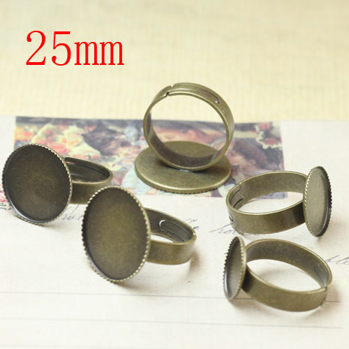 100 pcs Antique Brass Pad Open Adjustable RING Base Cabochon Size:25mm